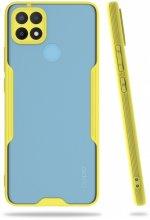 Oppo A15 Kılıf Kamera Lens Korumalı Arkası Şeffaf Silikon Kapak - Sarı