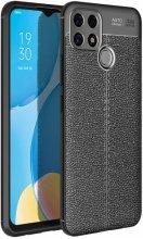 Oppo A15s Kılıf Deri Görünümlü Parmak İzi Bırakmaz Niss Silikon - Siyah