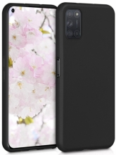 Oppo A52 Kılıf İnce Mat Esnek Silikon - Siyah