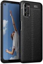 Oppo A52 Kılıf Silikon Deri Görünümlü Niss Parmak İzi Bırakmaz - Siyah