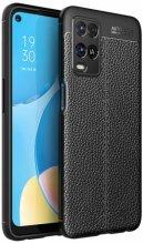 Oppo A54 Kılıf Deri Görünümlü Parmak İzi Bırakmaz Niss Silikon - Siyah