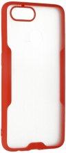 Oppo Ax7 Kılıf Kamera Lens Korumalı Arkası Şeffaf Silikon Kapak - Kırmızı