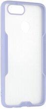 Oppo Ax7 Kılıf Kamera Lens Korumalı Arkası Şeffaf Silikon Kapak - Lila