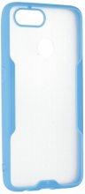 Oppo Ax7 Kılıf Kamera Lens Korumalı Arkası Şeffaf Silikon Kapak - Mavi