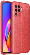 Oppo Reno 5 Lite Kılıf Deri Görünümlü Parmak İzi Bırakmaz Niss Silikon - Kırmızı
