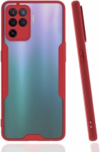 Oppo Reno 5 Lite Kılıf Kamera Lens Korumalı Arkası Şeffaf Silikon Kapak - Kırmızı