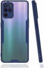 Oppo Reno 5 Lite Kılıf Kamera Lens Korumalı Arkası Şeffaf Silikon Kapak - Lacivert