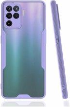 Oppo Reno 5 Lite Kılıf Kamera Lens Korumalı Arkası Şeffaf Silikon Kapak - Lila