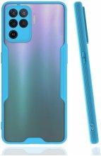 Oppo Reno 5 Lite Kılıf Kamera Lens Korumalı Arkası Şeffaf Silikon Kapak - Mavi
