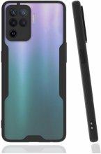 Oppo Reno 5 Lite Kılıf Kamera Lens Korumalı Arkası Şeffaf Silikon Kapak - Siyah