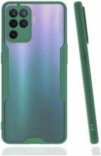 Oppo Reno 5 Lite Kılıf Kamera Lens Korumalı Arkası Şeffaf Silikon Kapak - Yeşil