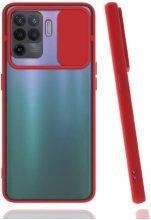 Oppo Reno 5 Lite Kılıf Silikon Sürgülü Lens Korumalı Buzlu Şeffaf - Kırmızı