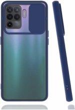 Oppo Reno 5 Lite Kılıf Silikon Sürgülü Lens Korumalı Buzlu Şeffaf - Lacivert