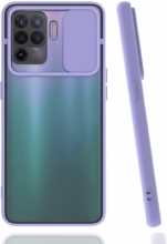 Oppo Reno 5 Lite Kılıf Silikon Sürgülü Lens Korumalı Buzlu Şeffaf - Lila