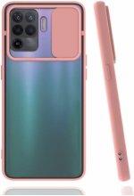 Oppo Reno 5 Lite Kılıf Silikon Sürgülü Lens Korumalı Buzlu Şeffaf - Pembe