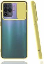 Oppo Reno 5 Lite Kılıf Silikon Sürgülü Lens Korumalı Buzlu Şeffaf - Sarı