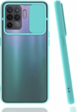 Oppo Reno 5 Lite Kılıf Silikon Sürgülü Lens Korumalı Buzlu Şeffaf - Turkuaz