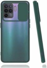 Oppo Reno 5 Lite Kılıf Silikon Sürgülü Lens Korumalı Buzlu Şeffaf - Yeşil