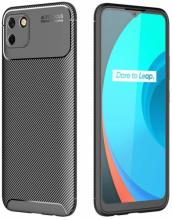 Realme C11 Kılıf Karbon Serisi Mat Fiber Silikon Kapak - Siyah