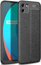 Realme C11 Kılıf Silikon Deri Görünümlü Niss Parmak İzi Bırakmaz - Siyah