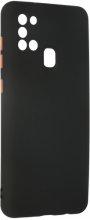 Samsung Galaxy A21s Kılıf Lens Kamera Korumalı İçi Kadife Esnek Silikon Renkli Tuşlu - Siyah