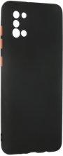 Samsung Galaxy A31 Kılıf Lens Kamera Korumalı İçi Kadife Esnek Silikon Renkli Tuşlu - Siyah