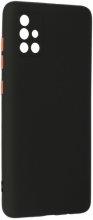 Samsung Galaxy A71 Kılıf Lens Kamera Korumalı İçi Kadife Esnek Silikon Renkli Tuşlu - Siyah