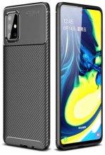 Samsung Galaxy M31s Kılıf Karbon Serisi Mat Fiber Silikon Kapak - Siyah