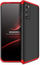 Samsung Galaxy S20 FE Kılıf 3 Parçalı 360 Tam Korumalı Rubber AYS Kapak - Kırmızı Siyah