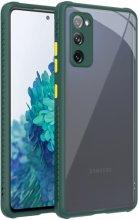 Samsung Galaxy S20 FE Kılıf Camlı Silikon KAFF Kapak - Koyu Yeşil