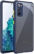 Samsung Galaxy S20 FE Kılıf Camlı Silikon KAFF Kapak - Lacivert