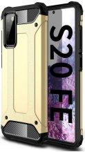 Samsung Galaxy S20 FE Kılıf Zırhlı Tank Crash Silikon Kapak - Gold
