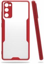 Samsung Galaxy S20 FE Kılıf Kamera Lens Korumalı Arkası Şeffaf Silikon Kapak - Kırmızı