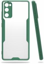 Samsung Galaxy S20 FE Kılıf Kamera Lens Korumalı Arkası Şeffaf Silikon Kapak - Koyu Yeşil