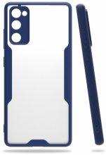 Samsung Galaxy S20 FE Kılıf Kamera Lens Korumalı Arkası Şeffaf Silikon Kapak - Lacivert