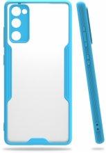 Samsung Galaxy S20 FE Kılıf Kamera Lens Korumalı Arkası Şeffaf Silikon Kapak - Mavi