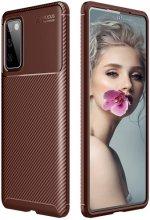Samsung Galaxy S20 FE Kılıf Karbon Serisi Mat Fiber Silikon Negro Kapak - Kahve