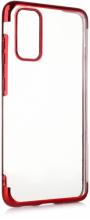 Samsung Galaxy S20 FE Kılıf Renkli Köşeli Lazer Şeffaf Esnek Silikon - Kırmızı