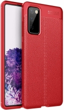 Samsung Galaxy S20 FE Kılıf Deri Görünümlü Parmak İzi Bırakmaz Niss Silikon - Kırmızı