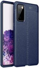 Samsung Galaxy S20 FE Kılıf Deri Görünümlü Parmak İzi Bırakmaz Niss Silikon - Lacivert