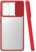 Samsung Galaxy S20 FE Kılıf Silikon Sürgülü Lens Korumalı Buzlu Şeffaf - Kırmızı