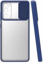 Samsung Galaxy S20 FE Kılıf Silikon Sürgülü Lens Korumalı Buzlu Şeffaf - Lacivert