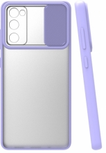 Samsung Galaxy S20 FE Kılıf Silikon Sürgülü Lens Korumalı Buzlu Şeffaf - Lila