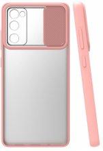 Samsung Galaxy S20 FE Kılıf Silikon Sürgülü Lens Korumalı Buzlu Şeffaf - Pembe