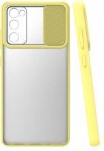 Samsung Galaxy S20 FE Kılıf Silikon Sürgülü Lens Korumalı Buzlu Şeffaf - Sarı