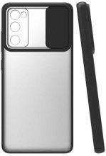 Samsung Galaxy S20 FE Kılıf Silikon Sürgülü Lens Korumalı Buzlu Şeffaf - Siyah