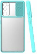 Samsung Galaxy S20 FE Kılıf Silikon Sürgülü Lens Korumalı Buzlu Şeffaf - Turkuaz