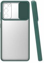 Samsung Galaxy S20 FE Kılıf Silikon Sürgülü Lens Korumalı Buzlu Şeffaf - Yeşil