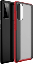 Samsung Galaxy S20 FE Kılıf Volks Serisi Kenarları Silikon Arkası Şeffaf Sert Kapak - Kırmızı
