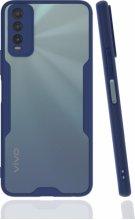 Vivo Y11s Kılıf Kamera Lens Korumalı Arkası Şeffaf Silikon Kapak - Lacivert
